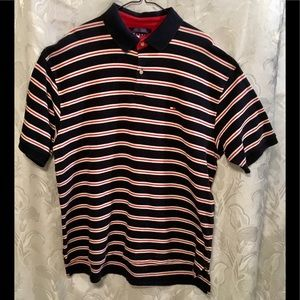 Tommy Hilfiger Black Red & White Striped Polo